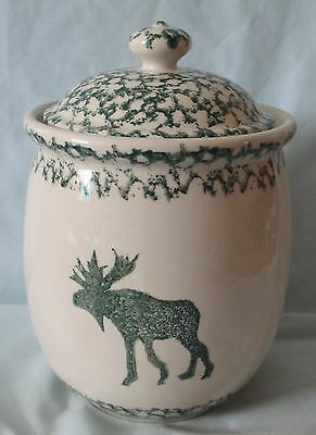 Tienshan Moose Country Sponge Green Canister Medium Size, small chip