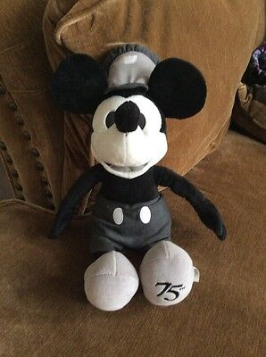 Disney Steamboat Willie 75th plush rare black white Mickey Mouse