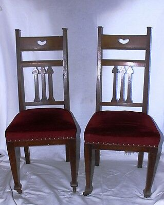 Arts and Crafts, Art Nouveau Oak Chairs 2 of