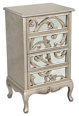 Silver French Antique Fretted narrow Chest Of Drawers
