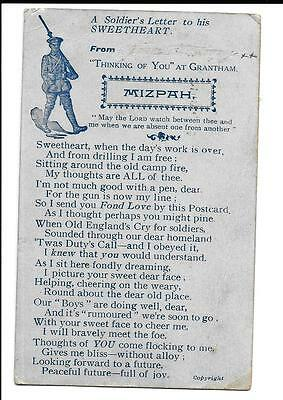 Postcard WW1  A Soldier's letter to his Sweetheart.
