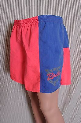 Vintage '80s Men's Bert's Surf Gear pink and blue lined short swim trunks XL