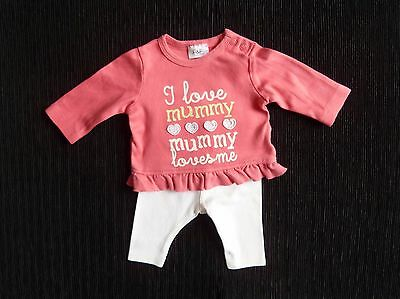 Baby clothes GIRL premature/tiny 7.5lb/3.4kg outfit LS pink top/white trousers
