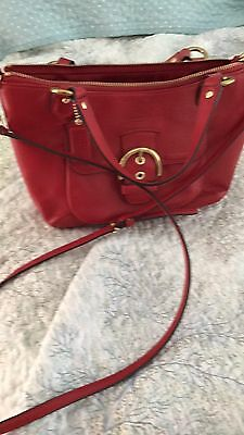 Authentic Coach Carryall Crossgrain Leather Mini Satchel Crossbody Red