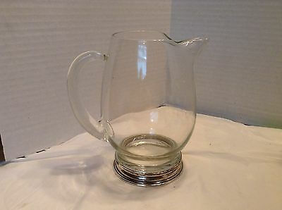 Vintage Wallace Silversmiths Glass and Sterling Cocktail Pitcher-28 oz