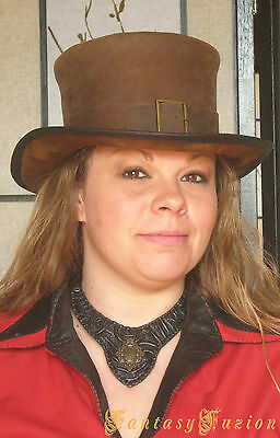 Steampunk Hat Victorian Leather Standard Top Hat with Belt