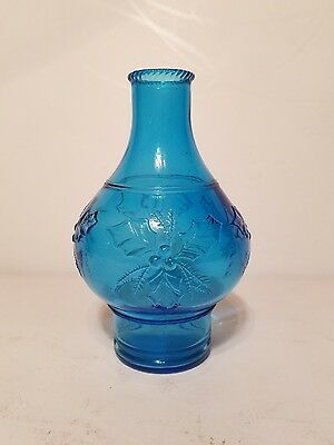 """Vintage No.1 Wheaton Glass Blue Vase Raised Holly & Berry Design 6"""" Tall"""