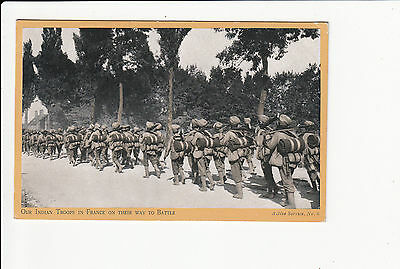 Our Indian Troops in France on their way to Battle  Vintage Postcard