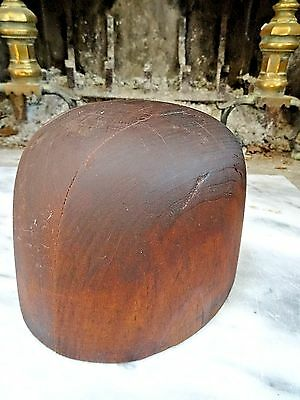 "Antique WOOD HAT MOLD FORM BLOCK Hatters Supply Co. No 44 5 3/4"" 7 1/8"""