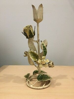 Toleware Flower Candle Holder Vintage Italian Metal Tole Candlestick Shabby Chic