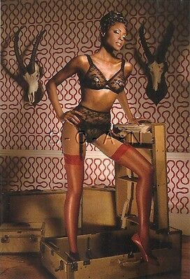 Org Semi Nude UK Pinup PC- Tim Brett- Black Maid- Lingerie- Stocking- Bra- Heels