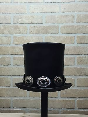 Rocker Black Leather Slash Style Top Hat Conchos band Replica Fans VERY HIGH