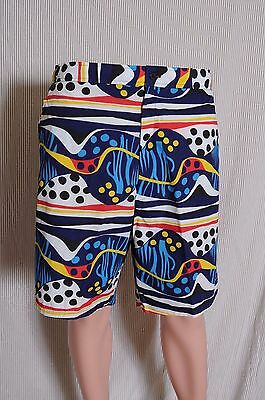 Vintage '80s Daniel Axel colorful zip front surfing board shorts swim trunks XL
