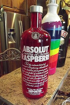 RARE! Absolut Raspberri Vodka Red Glass Advertising Back Bar Display Bottle