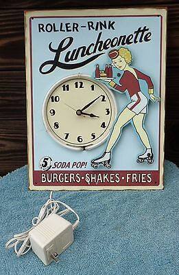 Roller Rink Luncheonette Restaurant Drive In Diner Lighted Neon Metal Clock Sign