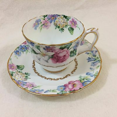 "Vintage Crown Staffordshire ""Brendon"" Bone China Cup & Saucer Pastel Gold Floral"