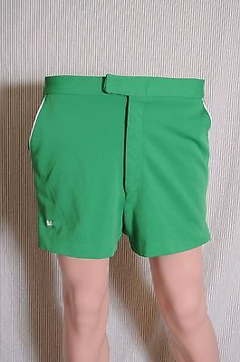 Vintage '70s Sears Kings Road green polyester tennis shorts 35