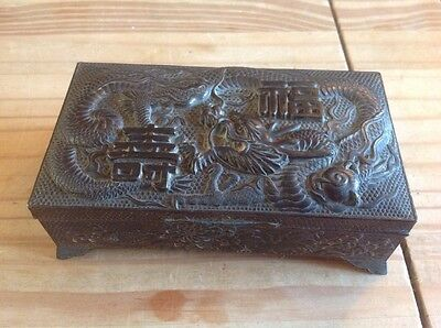 A Stunning,unusual Quality,antimony Metal Chinese Box.wow!!!!