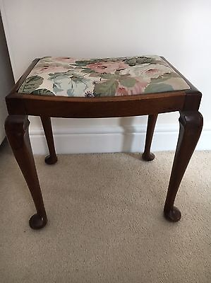 Re-upholstered Antique Mahogany Piano / Bedroom / Foot Stool - Beautiful