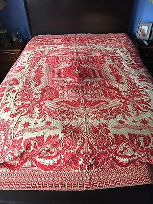 "Antique Red And White 19th C. Jacquard Coverlet 91""x73"" Stunning"