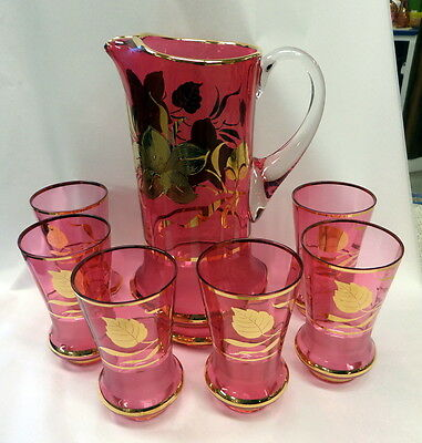 Antique Vintage Moser Bohemian Cranberry Glass Lemonade Pitcher & 6 Glasses