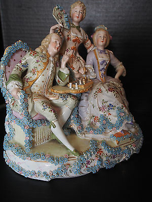 Large Antique 19c GERMAN Figural Group Chess Game Applied Flowers Hand Painted