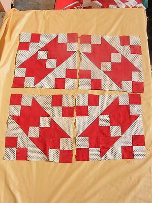 Lot Of 16 Hand Sewn Red Black Cream Polka Dot Quilt Blocks Four Patch Variation?
