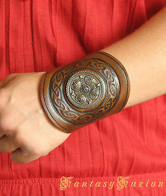 Medieval Tribal LARP Viking Armor Celtic Round Design Stamps Leather Cuff Bracer