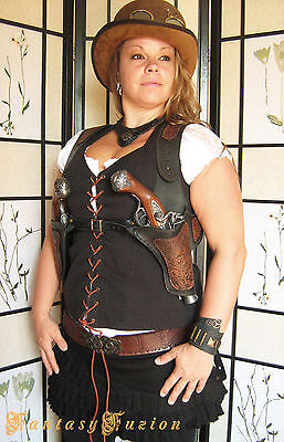 Steampunk Victorian Industrial Flintlock Gun Double Shoulder Leather Holsters