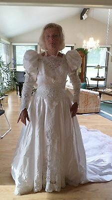 1387M Vtg 80's Mori Lee White Wedding Dress Size 10 Cathedral BEADWORK GALORE