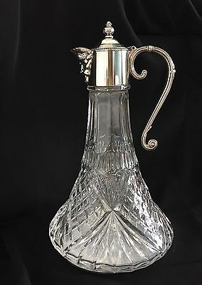 Vintage Silver Plated Cut Glass Bacchus Ships Decanter Wine Water Claret Jug /