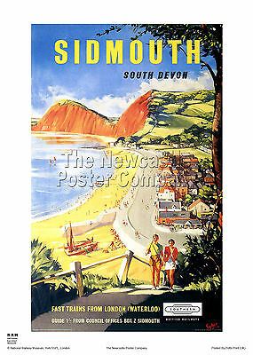 Sidmouth Devon Poster Vintage Retro Railway Travel Holiday Advertising Print