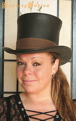 Steampunk Hat Victorian Classic Leather Standard HIGH Top Hat with Band 2 Tones
