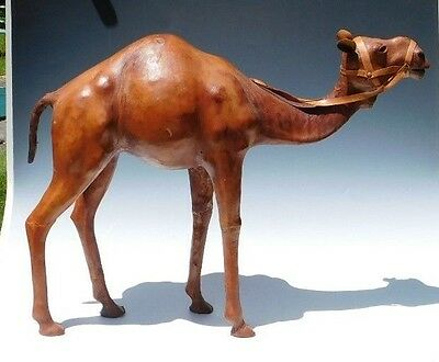 "18"" Moroccan Leather Camel Model/Figurine/Sculpture/Statue Desert Horse Vintage"