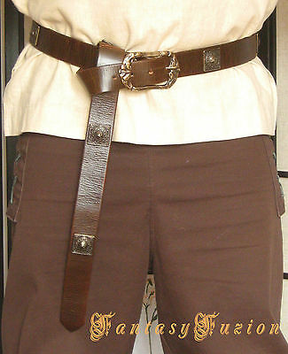 Medieval Celtic Lord Leather Belt With Square Conchos