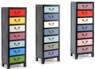 Tall Chest of Drawers Solid Tallboy Vintage Bedroom Storage Unit 7 Drawer
