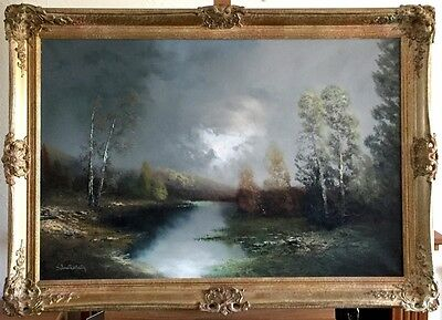 River Landscape, Signed Oil Painting On Canvas In Gilt Frame