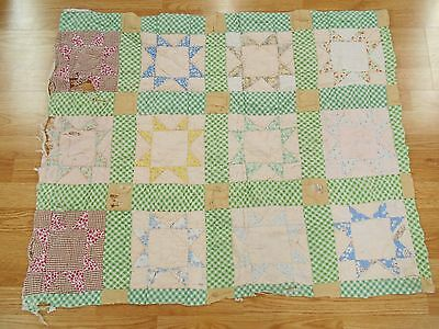 Vintage Antique 1930 FEED SACK DISTRESSED STAR CUTTER Lap Quilt PC 41x32