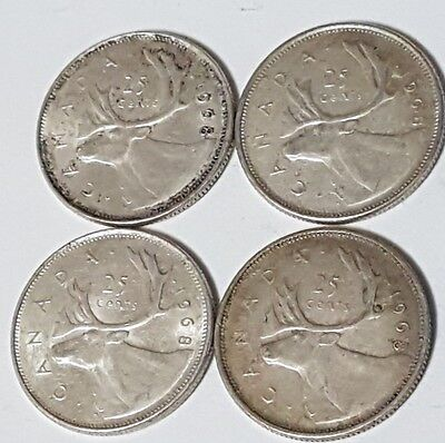 1968 Canada Silver Twenty-five Cent coin lot - 4 Coins - 50% Silver Coins