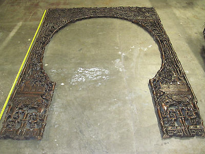 ANTIQUE ASIAN ORIENTAL CARVED WOOD PANELS 88 in. x 64 in. Door Archway Animals