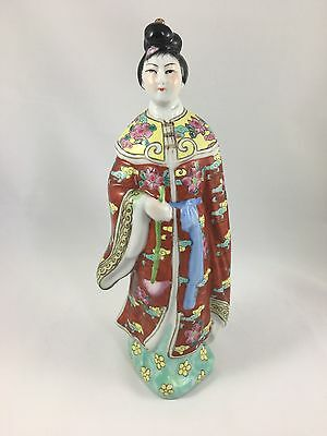 Antique Chinese Famille Rose Porcelain Woman Figurine Marked