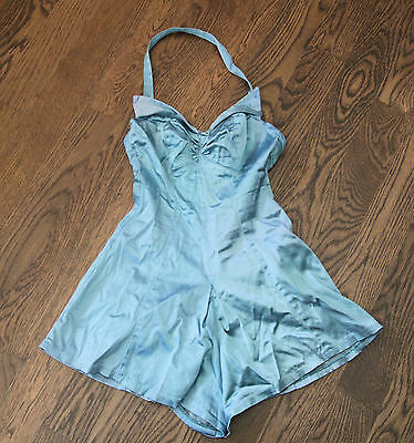 Vintage 60s Jordan Sea Nymph One-piece Swimsuit, Aqua. Halter, Front Ruching.