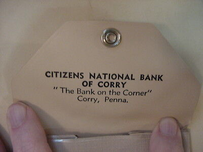 Citizen's National Bank CORRY, PA~ Coin Purse Vintage Advertising Item PENNA