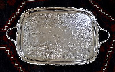 """Large Antique Silver Plate Tray Platter Beautiful 27"""""""
