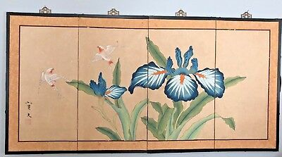 """Shandong Signed Folding Screen Hand Painted 4 panel Swallow Birds Orchid 48"""""""