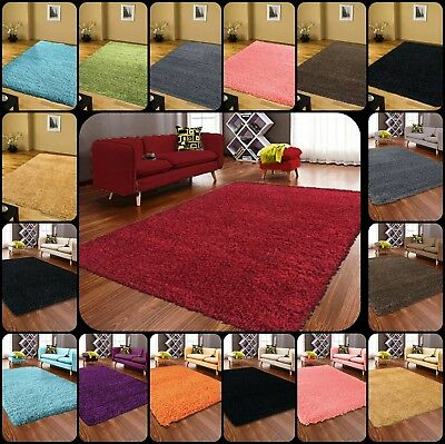 Small And Large Thick Shaggy Rug Living Room Plain Soft Pile Anti Skid Rugs