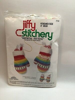Vtg Jiffy Stitchery Kit #162 RAINBOW MITTENS Christmas 3-D Sunset Designs S6