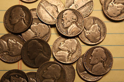 35% Silver War Nickels 40-Coin $2 Face-Value Roll Average Circ LOT #60