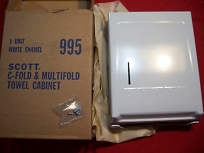 Vintage Scott White Enamel 995 C-Fold/ Multifold Paper Towel Cabinet Dispenser