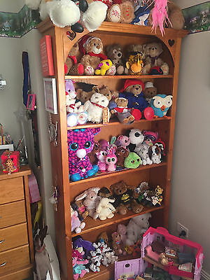 childrens single timber bed, trundle and bookcase